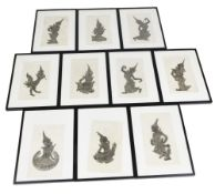 A collection of ten Thai black wax rubbings, depicting musicians and dancers, 50cm x 30cm, in