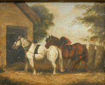 19thC English School. Horses in a farmyard before barn and trees, oil on tin, unsigned, 18cm x