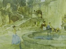 William Russell Flint (1880-1969). Chateau Garden, Languedoc, artist signed coloured print, 43.5cm x