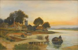 Daniel Sherin (1868-1940). Figures in a boat on a calm stream before houses and church, oil on