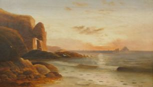 19thC English School. Seascape, twilight evening, oil on canvas, signed and indistinctly titled,