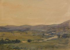 Alfred Edward Borthwick (1872-1937). Scottish river landscape, sunset, watercolour, John Mathieson &