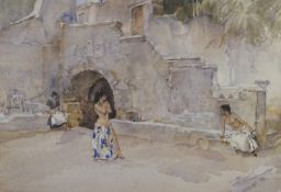 William Russell Flint (1880-1969). Models in an Italian Courtyard, limited edition coloured print,