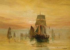 William Wilson (1905-1972). Boats drying sails, twilight evening, oil on canvas, signed, 25cm x