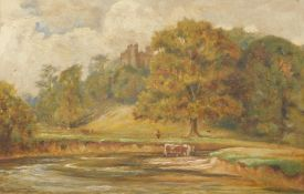 John Henry Hill (1839-1922). Cattle in a stream before trees and castle, oil on board, 20cm x