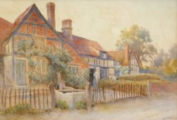 James Aitken (act.1880-1935). Cottages at Cropthorne-on-Avon, Worcestershire, watercolour, signed