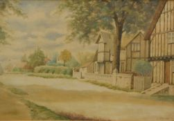 C. Gering (20thC English School). Path before Tudor buildings and trees, watercolour, signed, 25cm x