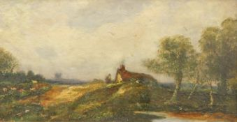 Carl Brennir (1850-1920). Summer landscape, trees before cottage, unsigned, attributed and dated