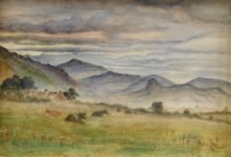 John Henry Hill (1839-1922). Grazing cattle before farm buildings and hills, watercolour, signed,
