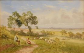 H. Hammond (19thC English School). Figures at rest on a path before sheep and trees with clouds
