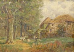 John Henry Hill (1839-1922). Figure driving sheep on a path before cottage and trees, oil on