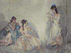 William Russell Flint (1880-1969). The Pendant, artist signed coloured print, 54cm x 71cm.