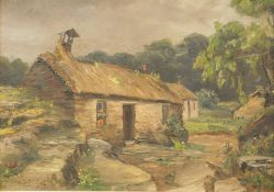 A. S. Myles (19thC English School). Sheep in forest landscape, oil on canvas, signed, 25cm x 36cm