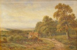 J.S.J. (19thC English School). Figures on a path before cottage and trees on a summer's day, oil