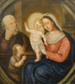 18thC School. The Madonna and Child with St Joseph. Oil on canvas, indistinctly signed and dated