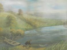 Early 20thC School. Figures fishing on a calm stream before hills, gouache, unsigned, 30cm x 39cm.