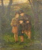 19thC English School. Figures of children in a forest before bridge, unsigned, oil on canvas, 25cm x