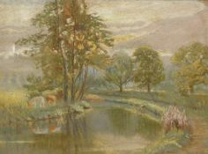 John Henry Hill (1839-1922). Stream before cattle and trees, pastel, signed, 28cm x 38cm and tree