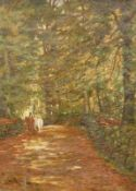 John Henry Hill (1839-1922). A Woodland Road, oil on canvas, signed, labelled to the back, 38cm x