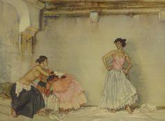 William Russell Flint (1880-1969). Casilda's white petticoat, artist signed coloured print, 48cm x