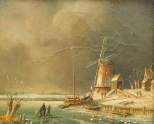Gerard Meijer (19thC Dutch School). Figures on a frozen lake before boats and windmill, oil on