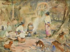 U BA THET (1903-1972). Figures cooking, watercolour, signed and dated (19)37, 24cm x 32cm.