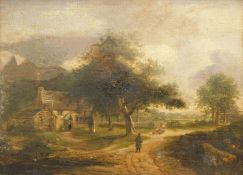 19thC English School. Figure driving sheep down a path before farmhouse and spire with clouds