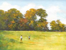 Maurice William Crawshaw (b.1947). The Butterfly Hunters, oil on board, signed and titled verso,