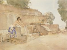 William Russell Flint (1880-1969). Isabella of Lucernay, artist signed coloured print, 54cm x 70.