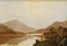 Charles Leslie (1839-1886). Mountainous scene, figure before meandering lake with clouds