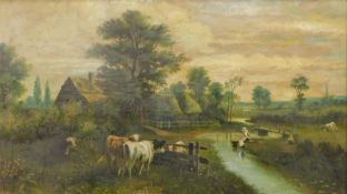 Llewellyn Cole (Early 20thC School). Cattle before fisherwoman at a stream, thatched cottages and