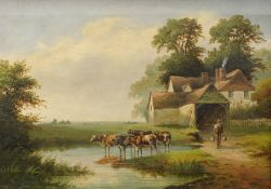 William P. Cartwright (1855-1915). Farm buildings on The Thames, Richmond, Surrey, oil on canvas,