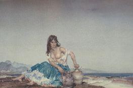 William Russell Flint (1880-1969). Sara, artist signed coloured print, 43cm x 64.5cm.