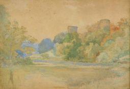 19thC English School. Stream before castle, watercolour, unsigned, 24cm x 34cm.
