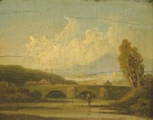 Early 19thC English School. Figure of a fisherman before bridge and house on a summer's day, oil
