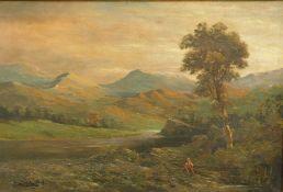 Alfred D. Breanski Junior (1877-1955). Figure in a mountainous landscape, oil on canvas, signed,