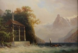 Hubert Sattler (1817-1904). Austrian landscape, buildings and boats before snow topped mountains,