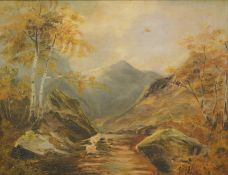 M.D. (19thC English School). Stream and trees before mountains with clouds gathering, oil on canvas,