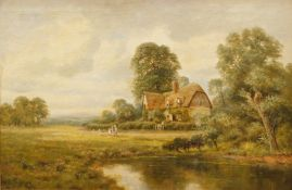 H. Johnston (19thC School). Lake and figures on a path before cottage and trees, oil on canvas,