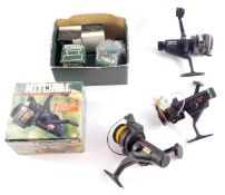 A Mitchell Excellence 40 fixed spool fishing reel, with box, a Mitchell 1160 RD fixed spool reel and
