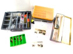 Fishing tackle boxes, pike floats, weights, etc. (a quantity)