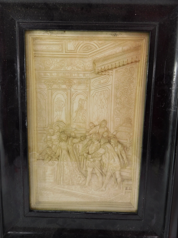 A pair of late 19thC plaster pictures, scenes depicting Mary Queen of Scots, relief moulded in - Image 3 of 3