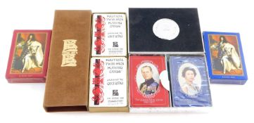 A twin pack of Enric Sio political playing cards, designed by Ortuno, twin pack of Waddingtons The