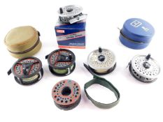 A Rimfly fly fishing reel, and four other Leeda fly reels, Hardy reel case and another. (7)