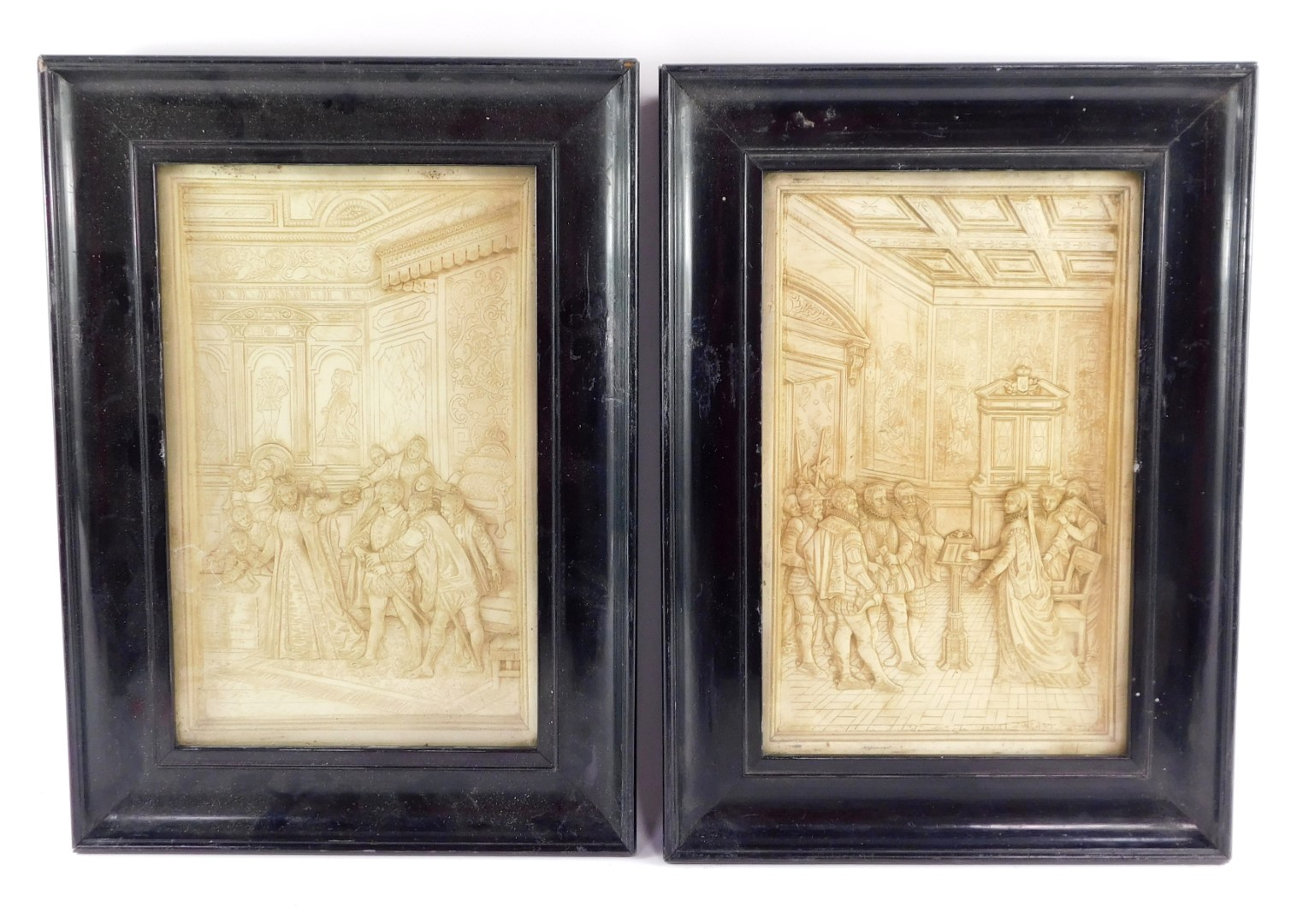 A pair of late 19thC plaster pictures, scenes depicting Mary Queen of Scots, relief moulded in