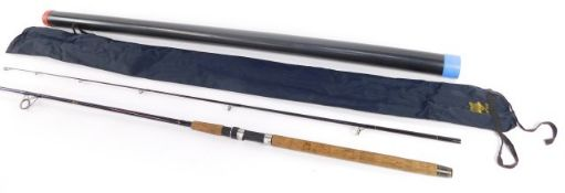 A Victor Internatioanl spinning rod, two piece, 80cm, with bag and rod tube.