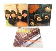 Three Beatles LPs, comprising Beatles For Sale, PMC1240., Rubber Soul., PMC1267., and Please