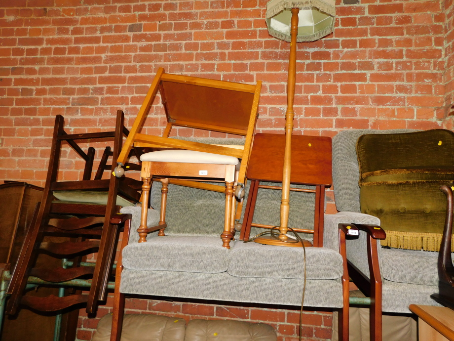 Two Ercol chairs, a lamp, trolley, table, etc. (7)