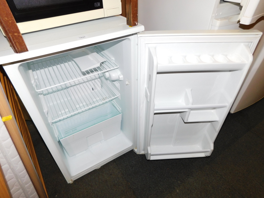 An LEC under counter fridge, model L5026W, together with a microwave. (2) - Image 2 of 2