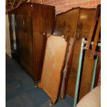 A pair of lady's and gentlemen's walnut veneered wardrobes, stamped Wrighton Furniture, 195cm